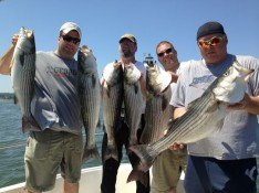 Sandy, John, Frank and Ed with Striped Bass Mania !!!