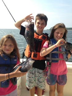 Olivia, Owen and Avery with some nice Sea Bass!