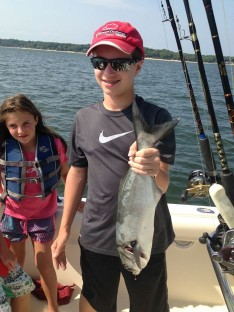 Drew with a small Bluefish